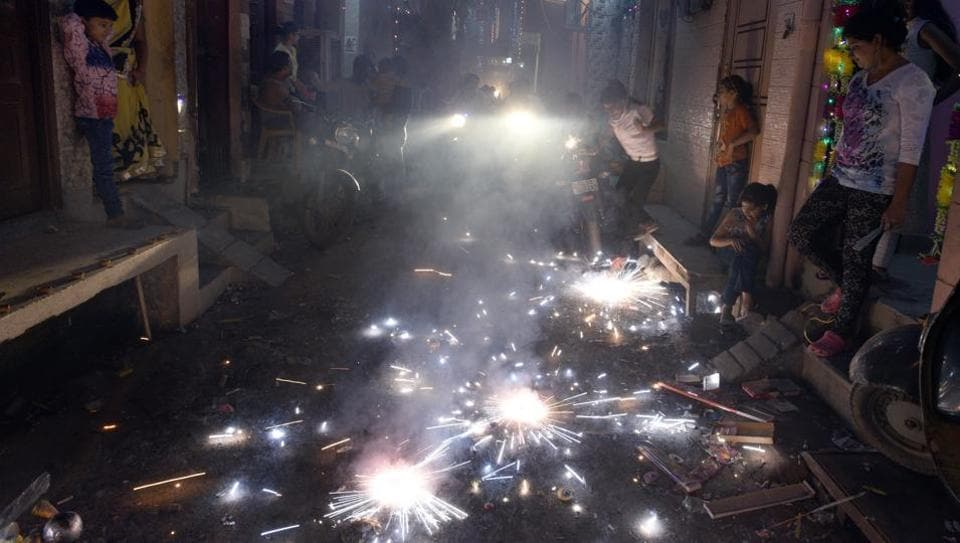 People burst crackers on Diwali despite the Supreme Court ban in New Delhi on Thursday.