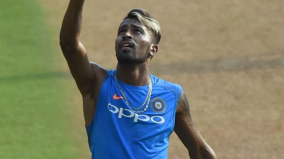 Hardik Pandya in action during a training session at the Wankhede stadium.  (AFP)