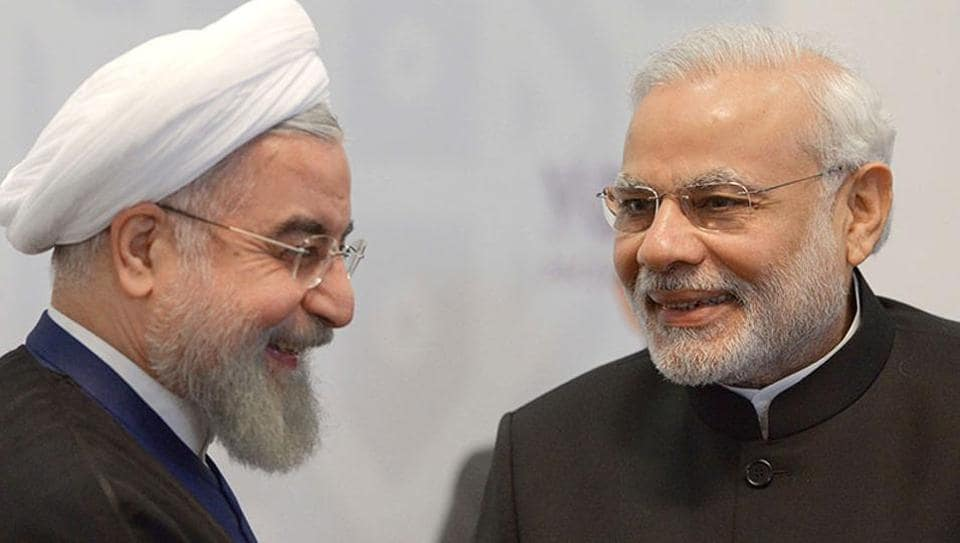 Iran's president Hassan Rouhani (left) meets with PM Modi in Ufa on the sidelines of the BRICSsummit.