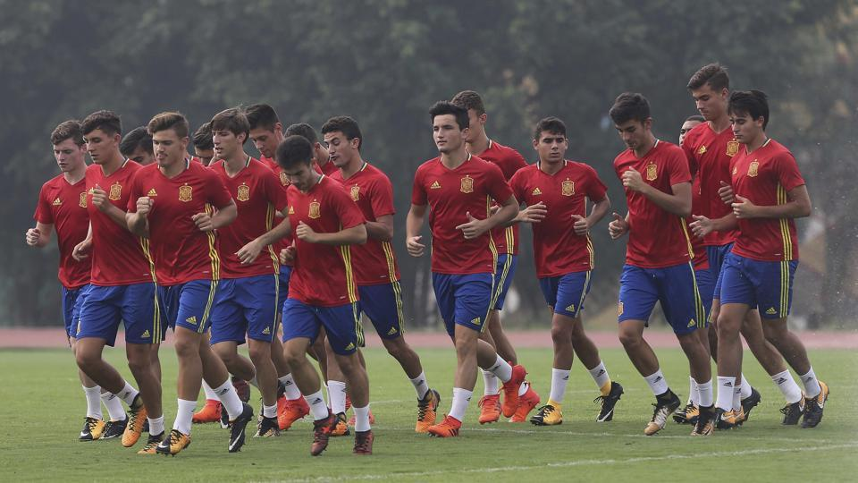 Spain players train ahead of their FIFA U-17 World Cup quarterfinal match against Iran in Kochi.