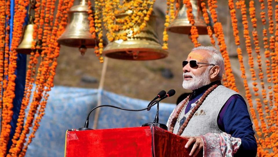 Prime Minister Narendra Modi addresses a public meeting at Kedarnath in Uttarakhand on Friday.