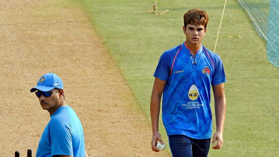 Sachin Tendulkar's son Arjun Tendulkar was the cynosure of eyes at the Wankhede Stadium as he bowled to the likes of Kohli and his Indian teammates in a practice session.  (PTI)