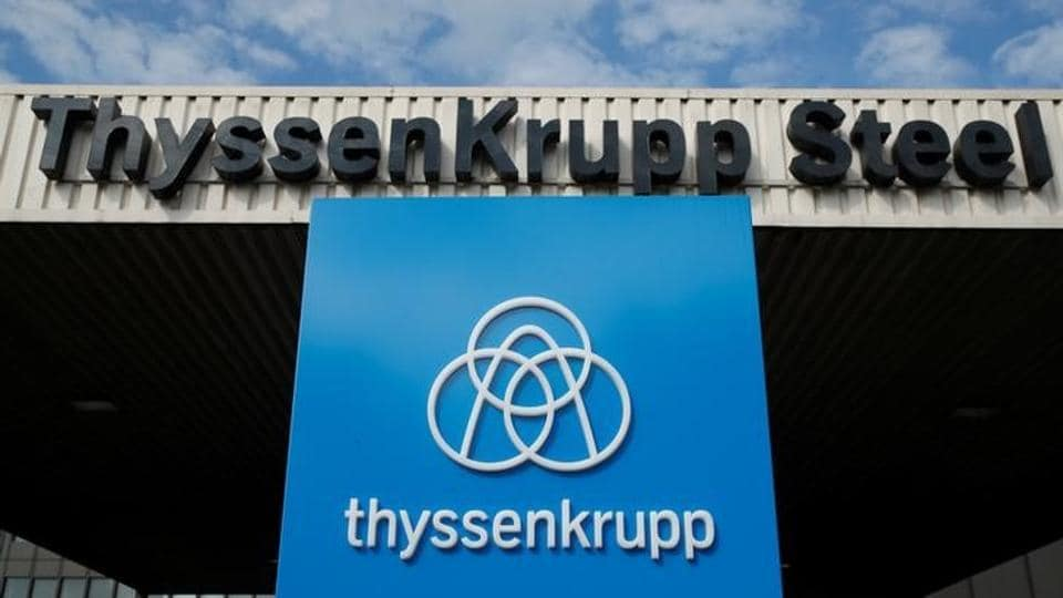 The logo of Thyssen Krupp AG is pictured at the gate one of the ThyssenKrupp steel plant in Duisburg, Germany, September 20, 2017.