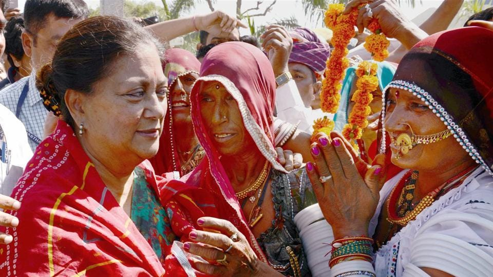 Rajasthan chief minister Vasundhara Raje during her Jansamwad programme in Bijainagar village near Beawar, Rajasthan.