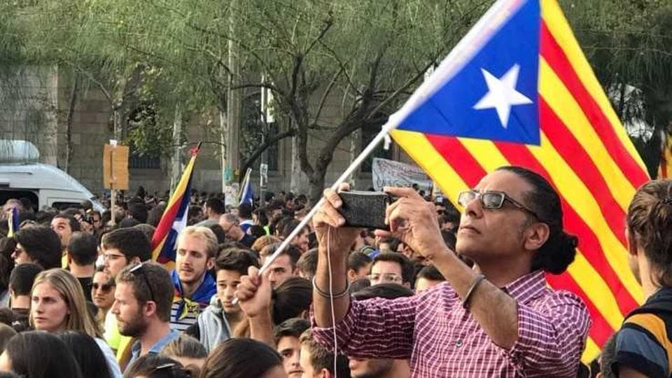 SFJ legal advisor Gurpatwant Pannun in Barcelona as the Catalonia referendum was taking place there.