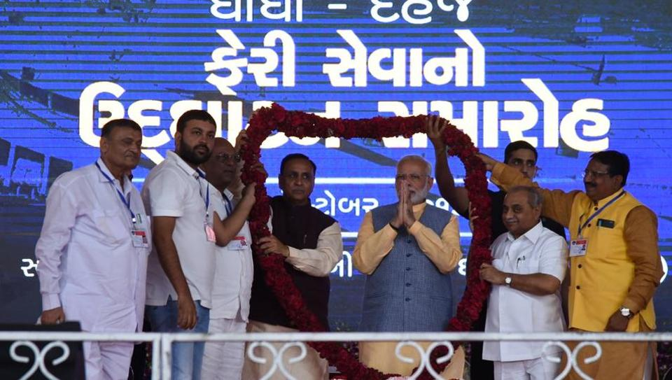 Prime Minister Narendra Modi felicitated at an event in Gujarat on Sunday.