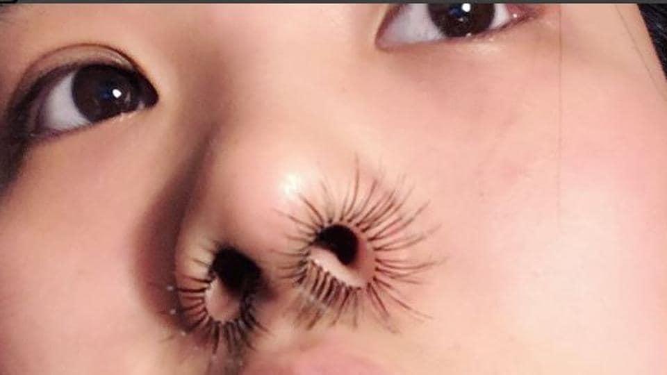 Chen used fake eyelashes to create her 'nostril hair extensions'