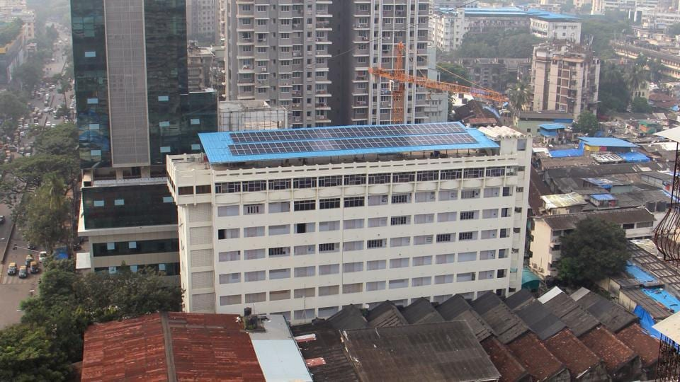 The 150-panel rooftop solar setup at Maharashtra College of Arts and Commerce in Nagpada.