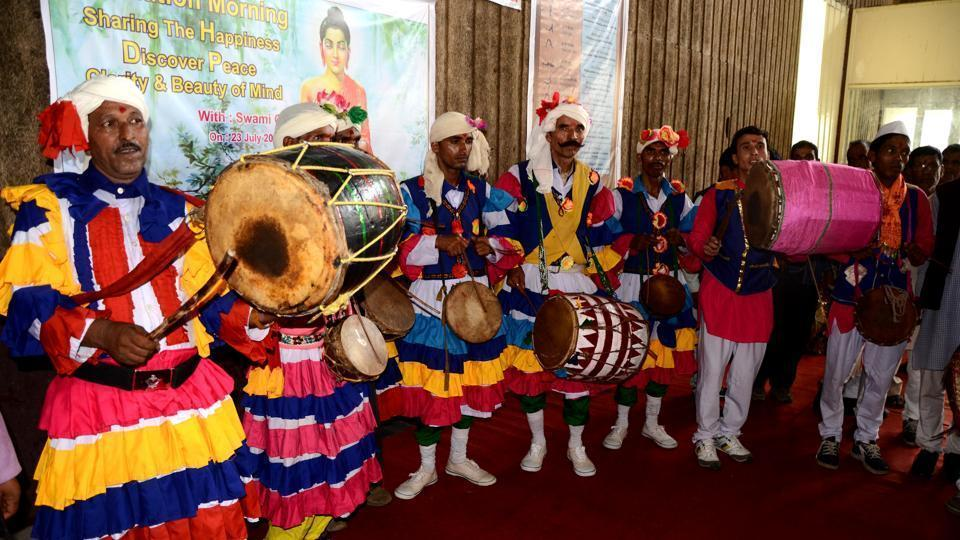 Dhol-Damau artists from across Uttarakhand take part in a workshop rehearsal in Haridwar.