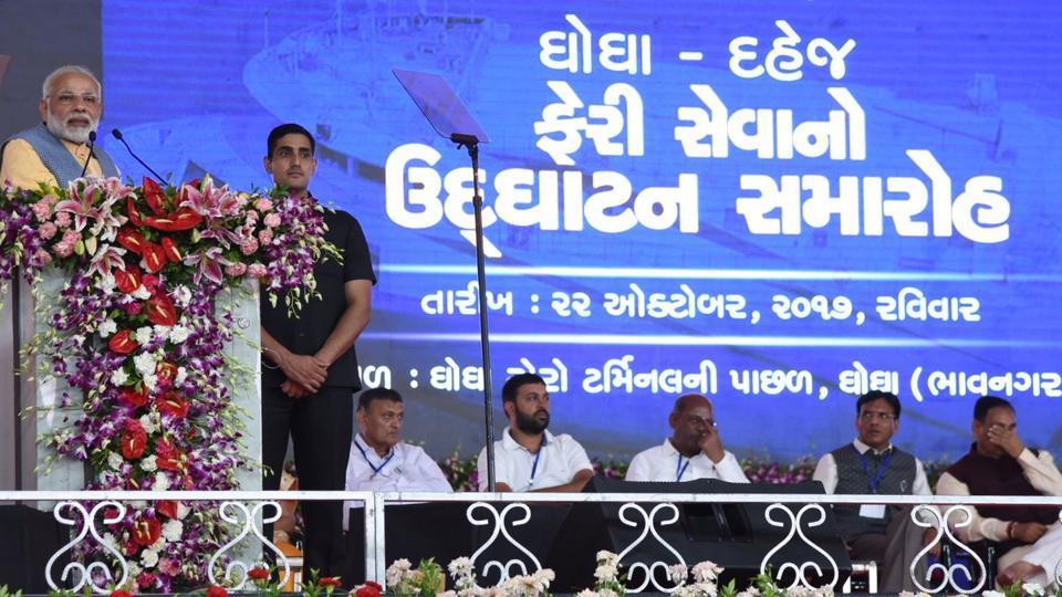 PM Narendra Modi addresses a gathering at an event in Gujarat's Bhavnagar on Sunday.