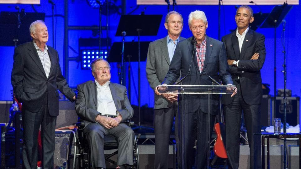 Former US Presidents, Jimmy Carter, George H. W. Bush, George W. Bush, Bill Clinton, and Barack Obama attend the Hurricane Relief concert in College Station, Texas, on October 21, 2017.