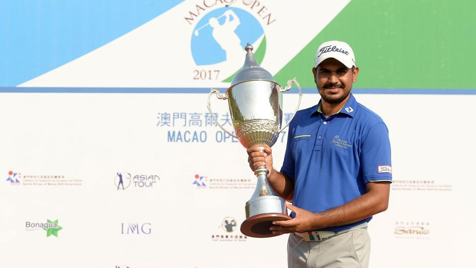 Gaganjeet Bhullar of India poses with his trophy after winning the Macao Open 2017 at the Macau Golf and Country Club in Macau.