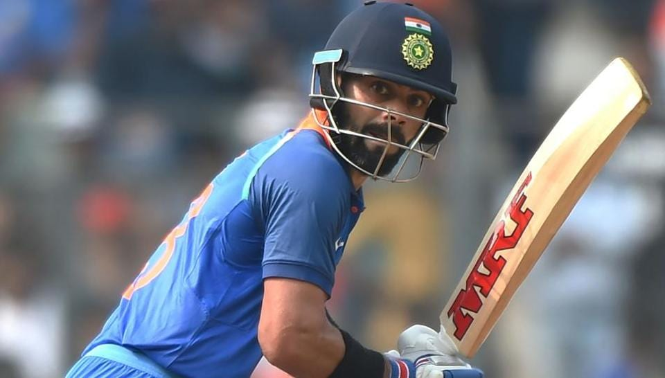 Virat Kohli in action during the first one-day international cricket match between India and New Zealand at the Wankhede stadium in Mumbai.
