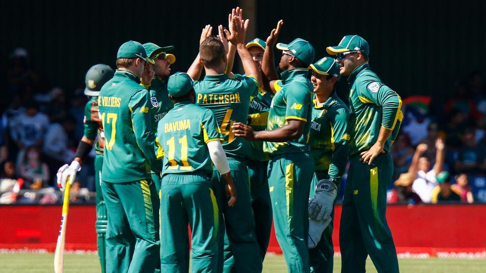 South African team players celebrate after a wicket during the 3rd ODI match at the Buffalo Park in East London. Get full cricket score of South Africa vs Bangladesh, 3rd ODI here.
