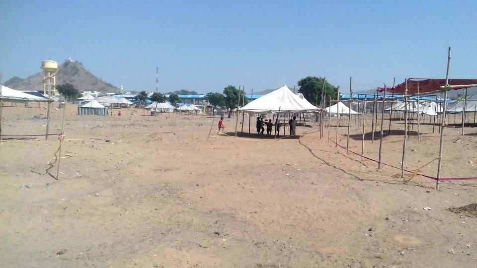 The deserted fair ground at Pushkar.