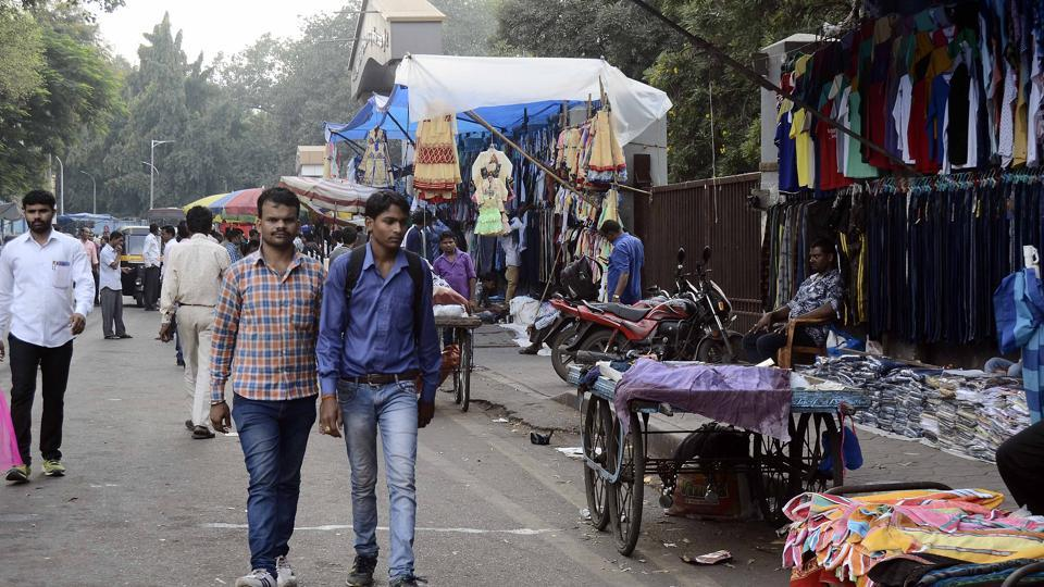 Hawkers on the footpath outside David Sassoon Hospital, a lane opposite Pune Railway Station in Pune.