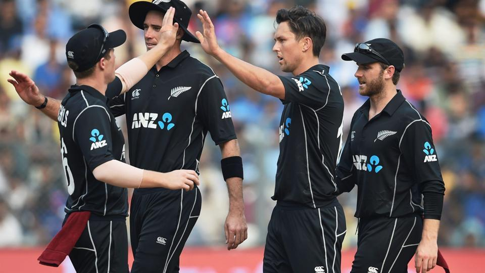 New Zealand bowler Trent Boult celebrates the wicket of Indian batsman MS Dhoni. (PTI)