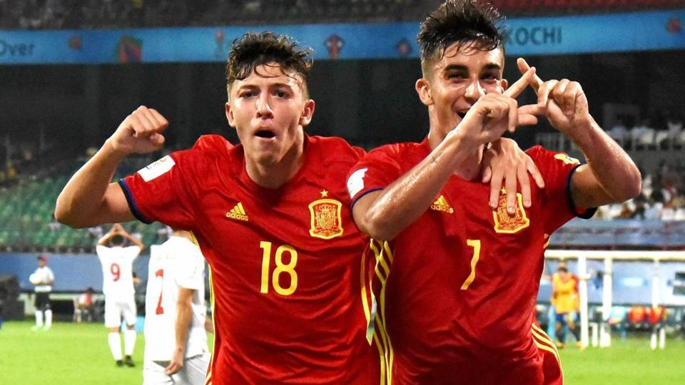 Spanish playerscelebrate after scoring a goal against Iran during their FIFA U-17 World Cup quarterfinal in Kochi on Sunday.