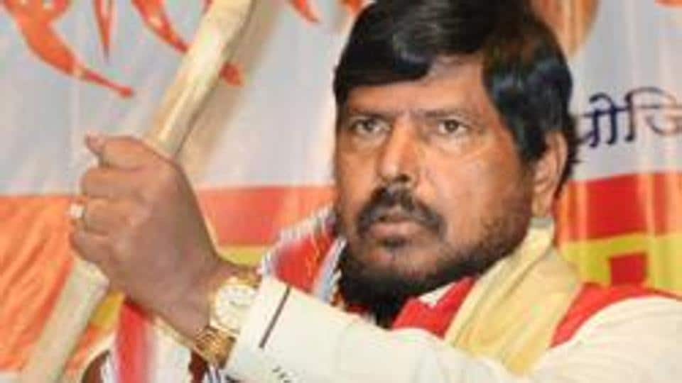 Union minister Ramdas Athawale at a function organised by a Dalit group in Karad, Maharashtra.