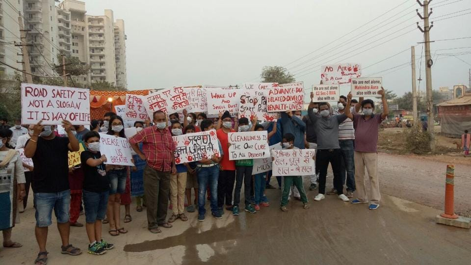 residents protest for road,residents booked for protest,park view residency