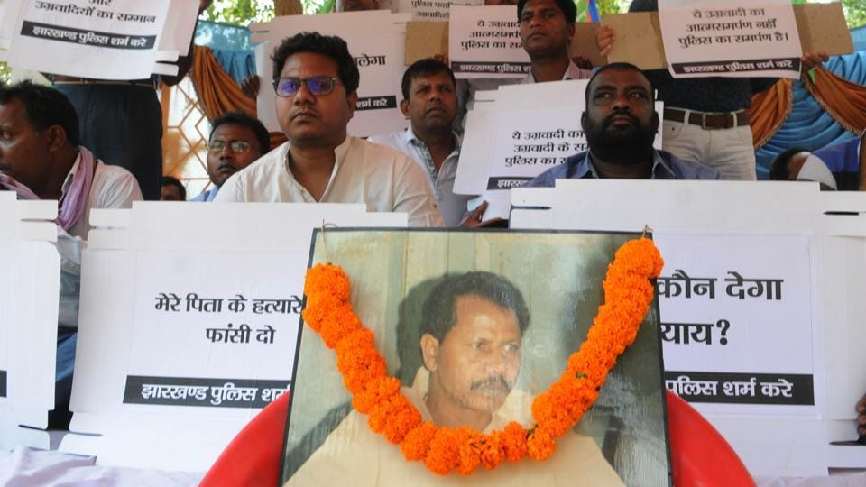 MLA Vikas Singh Munda on a dharna in protest against alleged liberal police action on Kundan Pahan who is the main suspect in the murder of Vikas' father, Tamar MLA Ramesh Singh Munda, on May 14, 2017.