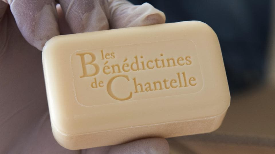 A bar of soap is pictured at the Saint-Vincent abbey in Chantelle.