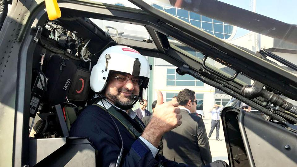 Shahid Khaqan Abbasi takes Turkish attack helicopter T-129 for a test flight.
