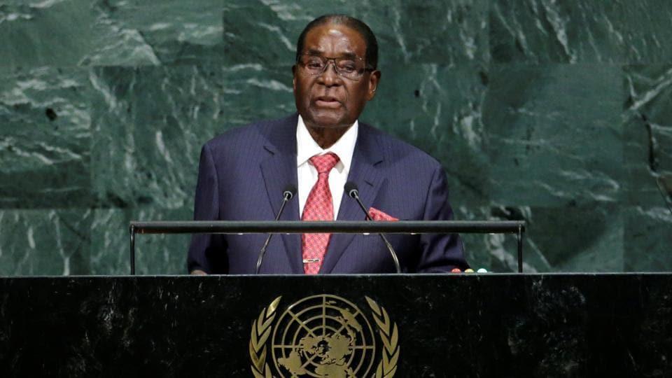 Zimbabwean President Robert Mugabe addresses the 72nd United Nations General Assembly at U.N. headquarters in New York, U.S., September 21, 2017.
