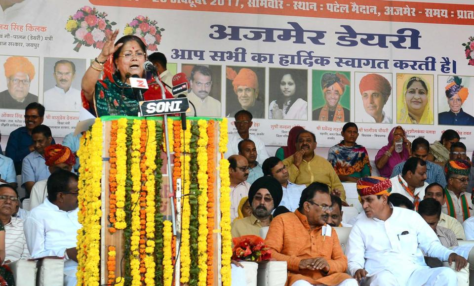 Chief minister Vasundhara Raje addresses a public meeting at Ajmer on Monday.