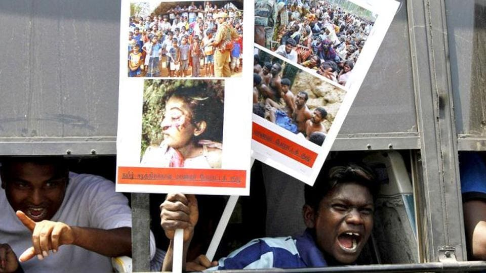 Students shout slogans from inside a bus during a protest in Chennai against the war crimes committed by Sri Lanka. Sri Lankan forces defeated Tamil Tiger rebels in May 2009 after a brutal guerrilla war which claimed the lives of at least 100,000 people.