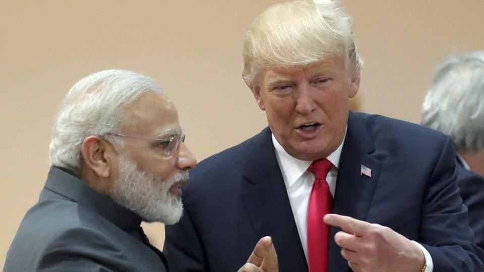 India's Prime Minister Narendra Modi, in conversation with U.S. president Donald Trump during a working session of the G20 summit in Hamburg, Germany.