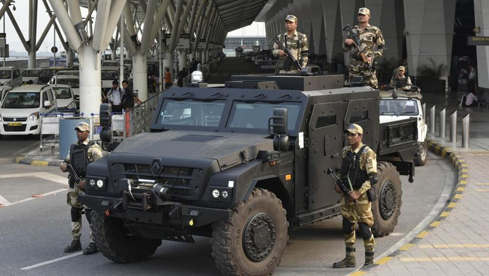 The Indira Gandhi International Airport in Delhi has recently deployed an armoured vehicle, the Sherpa on trial basis to deal with terror attacks. The Central Industrial Security Force (CISF) is in the process of procuring the armoured tactical vehicle for Delhi airport which can be helpful in case of any terror attack. (Vipin Kumar / HT Photo)