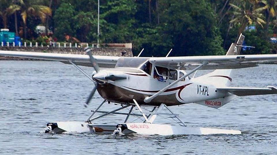 A seaplane prepares to take off from the Ashtamudi lake in Kerala.