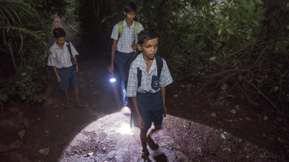 Children from Padas like Chafacha, Kelti, Vanicha and others have been instructed to travel only in groups of six and not lesser as they make their way to and from school. The idea is to scare the leopards by making more noise and maintaining safety in numbers. (Satish Bate / HT Photo)