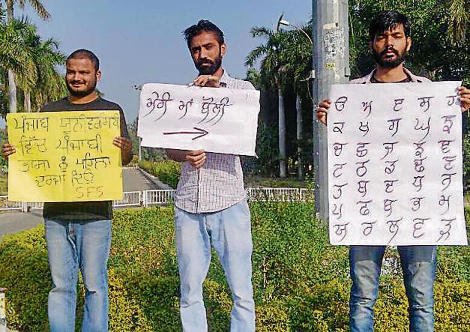 Panjab University,Punjabi language part,Protest in Panjab University
