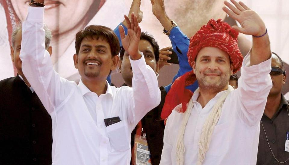 Congress vice president Rahul Gandhi with OBC leader Alpesh Thakore who joined the party at a public meeting in Gandhinagar on Monday.