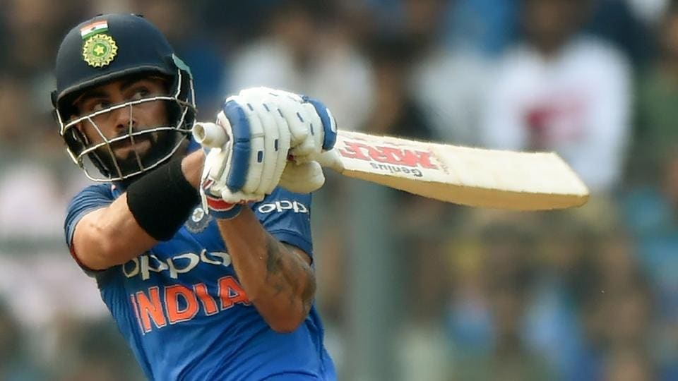 Virat Kohli plays a shot during the first one-day international cricket match between India and New Zealand at the Wankhede Stadium in Mumbai on October 22, 2017.