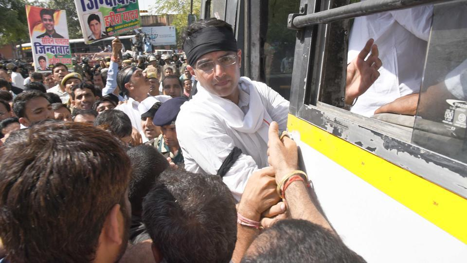 Congress state unit president Sachin Pilot courts arrest during a rally to protest the Criminal Laws (Rajasthan amendment) ordinance, 2017, in Jaipur on Monday.