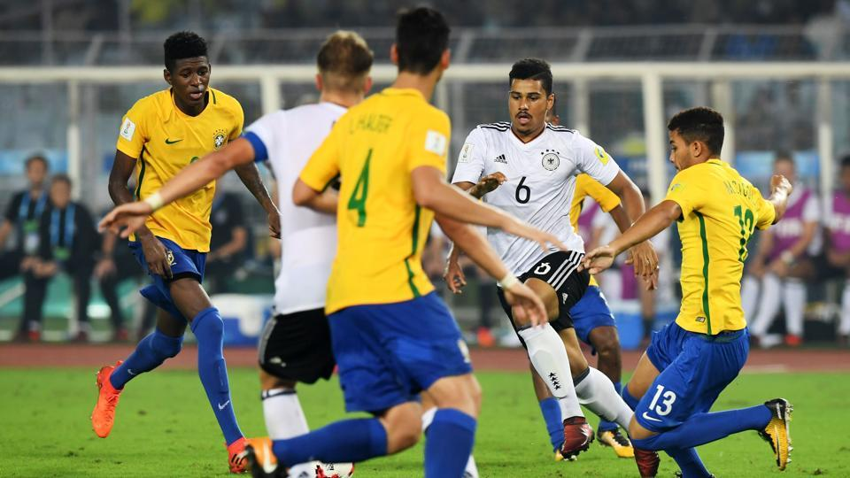 Germany lost 1-2 to Brazil in a quarterfinal of the FIFA U-17 World Cup in Kolkata on Sunday.