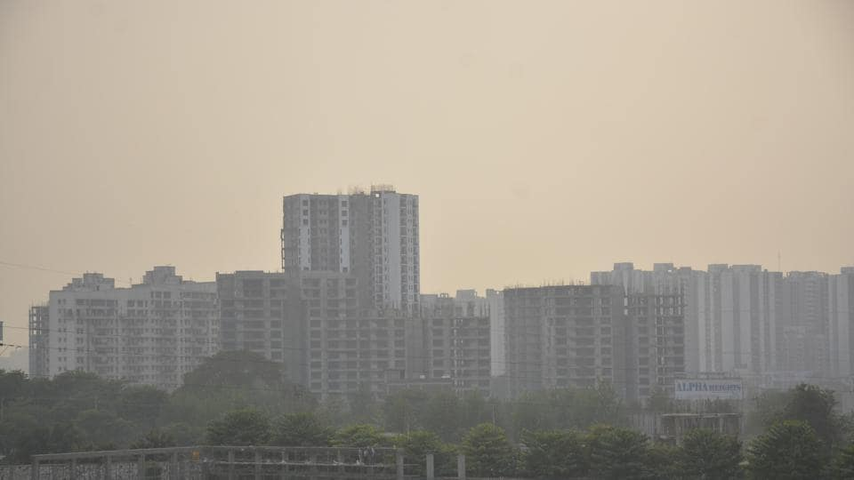 Smog clouded the Ghaziabad skyline even four days after Diwali as PM10 and PM2.5 levels continue to be high.