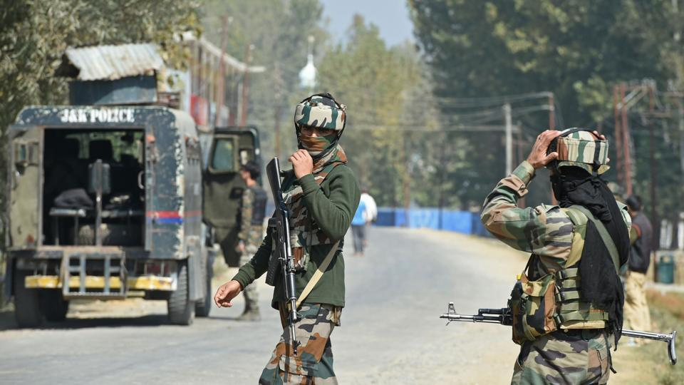 Paramilitary troopers stands guard after a gunfight with militants at Hajin village, north of Srinagar, J&K. (File Photo)