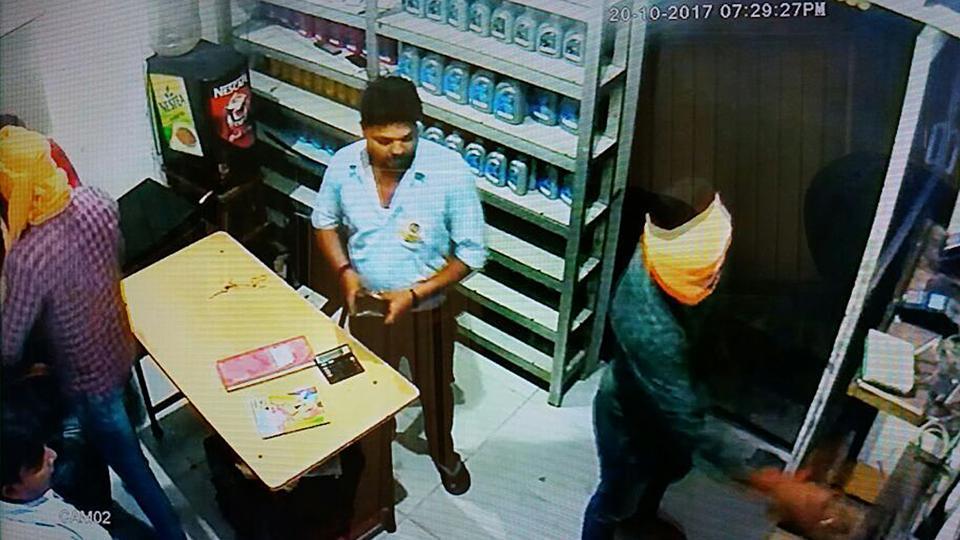 A CCTV grab of a robbery at a petrol pump in SBS Nagar in Jalandhar.