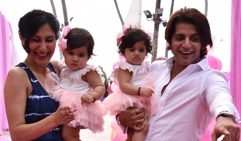 Karanvir Bohra and his wife Teejay celebrate the first birthday of their daughters Raya Bella and Vienna.
