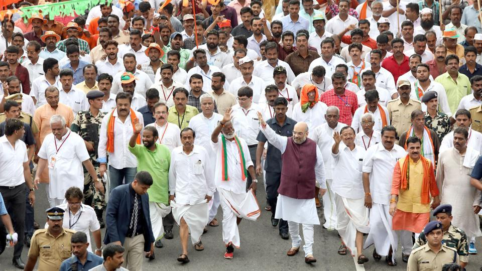 BJP president Amit Shah leads Janaraksha Yatra in Kerala.  In his speeches int he southern state, Shah has vowed to oust the Left from its bastion.
