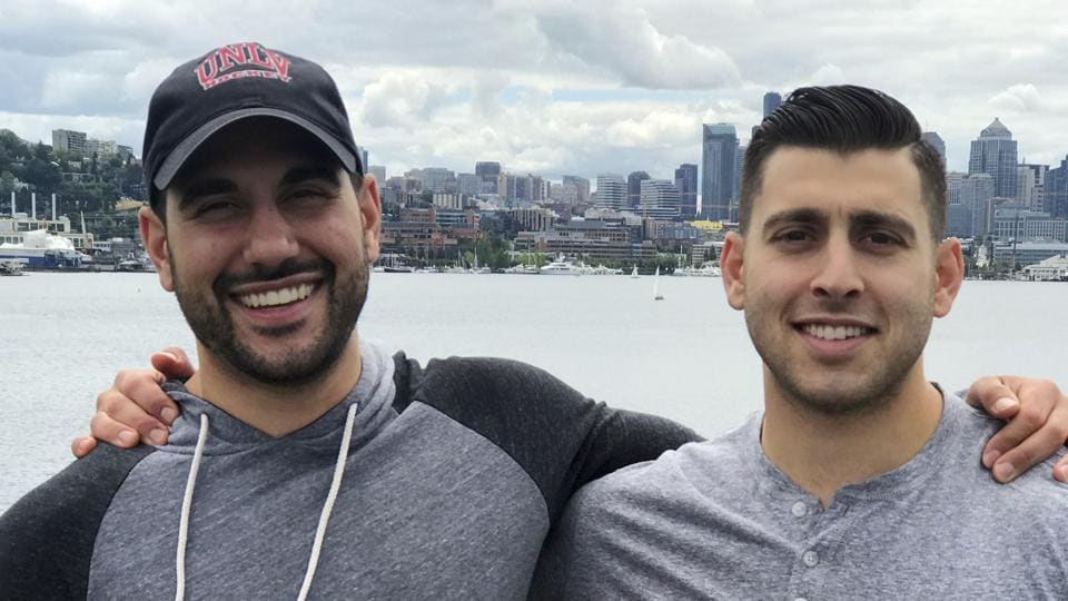 Nicholas (Nick) Robone, 28, left, and his brother Anthony (Tony), 25, are seen in this 2017 photo during a trip to Seattle. The brothers grew up close in Las Vegas, where they were the only siblings in the same family and shared a love of hockey and the same alma mater, the University of Nevada, Las Vegas.