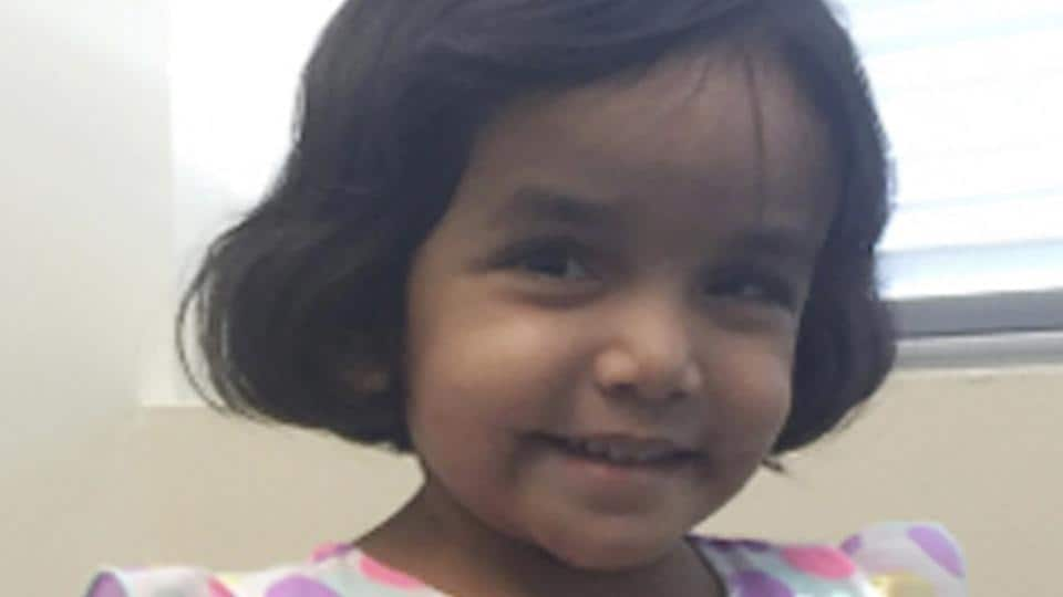 File photo provided by the Richardson police department in Texas shows three-year-old Sherin Mathews. Police in the Dallas suburb say they've found the body of a small child on Sunday, not far from the home of Sherin, who's been missing since October 7. Her father, Wesley Mathews, has told authorities he ordered the child to stand next to a tree outside their home at 3 am on October 7 as punishment for not drinking her milk.