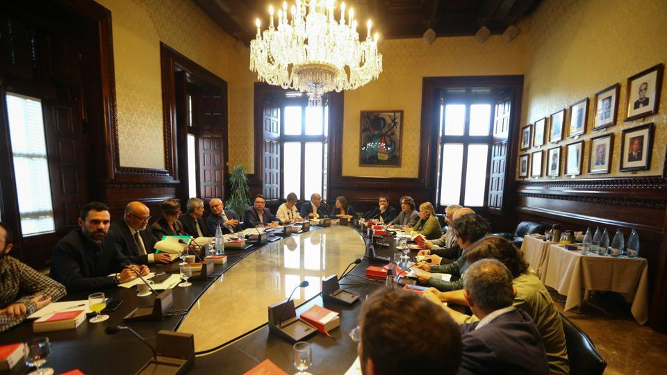 Speaker of the Catalan regional Parliament Carme Forcadell presides over the parties' spokespersons board meeting at the Parliament in Barcelona, Spain October 23, 2017.