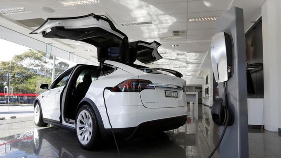 File photo of a Tesla wall connector demonstrating the charging at home of a Model X vehicle at a Tesla electric car dealership in Sydney.