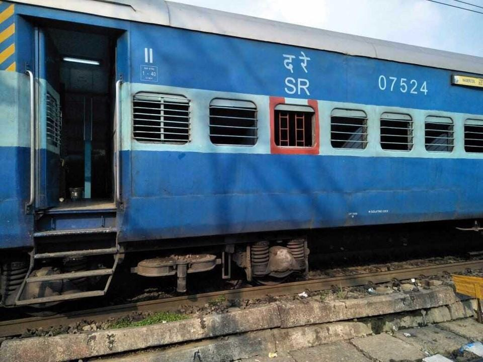 The damaged coach of the Nagercoil Express.