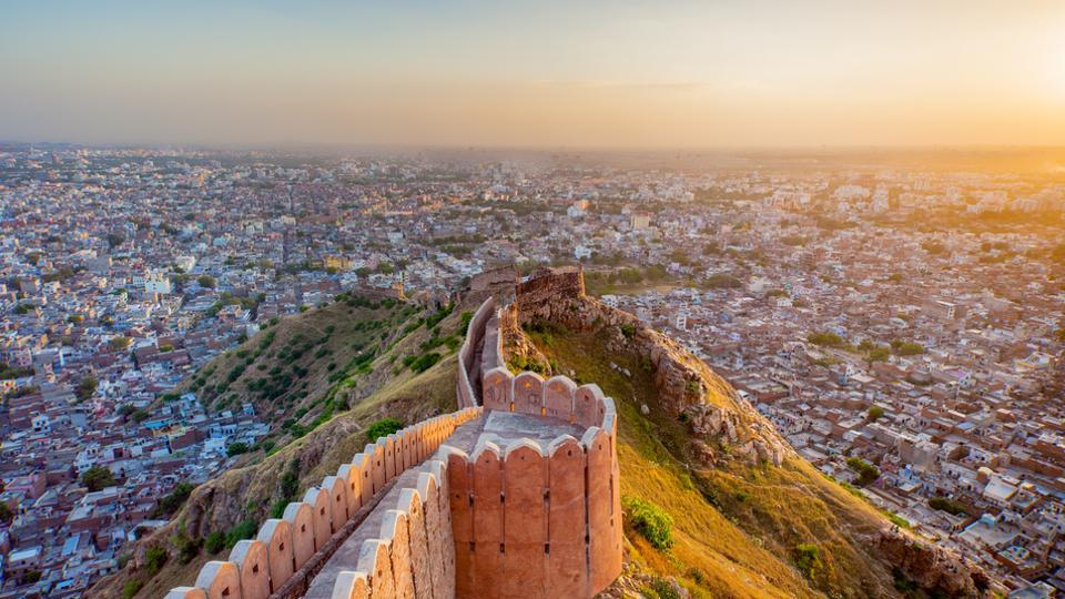 Aerial view of Jaipur from Nahargarh Fort at sunset.